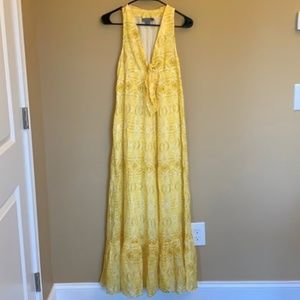 Anthropologie Lil yellow patterned maxi dress